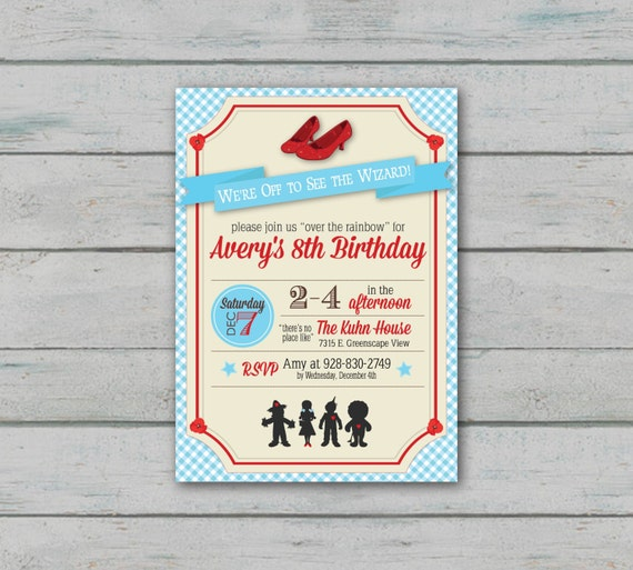 Wizard of Oz Inspired Birthday Invitation