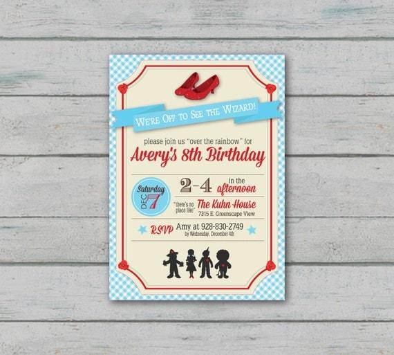 Wizard of Oz Inspired Birthday Invitation