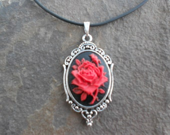 Stunning Red Rose on Black Cameo Pendant Necklace--- Great Quality--- Unique Piece