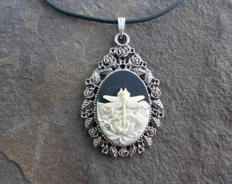 Stunning Ivory Dragonfly on a Black Background Cameo Pendant Necklace--- Great Quality--- Unique Piece