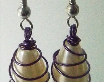 White Pearl Drops glass 15mm, wire wrapped earrings