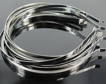 50pcs 5mm width silver plated  hairbands/headband metal findings