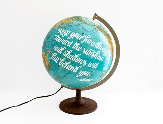 World Globe Lamp 12in Vintage Repurposed Travel Nursery