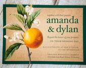 Wedding Invite Set-Vintage Orange Tree Blossom Illustration Orange-Green-SAMPLE LISTING