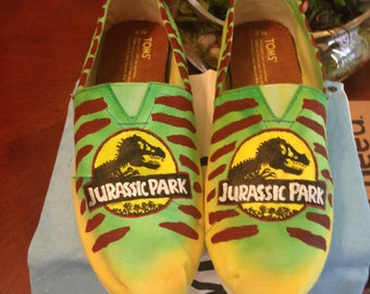 Jurassic Park Hand Painted Toms Shoes
