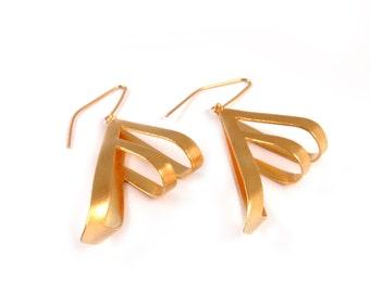 Modern tribal jewelry - Gold tribal earrings - Gold long earrings - Gold statement earrings - Gold geometric earrings