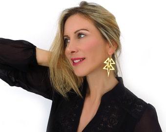 Long gold earrings- Gold tribal earrings - Gold geometric earrings - Gold statement earrings