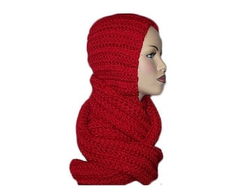 Red Hooded Scarf Chuncky