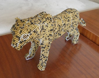 African Beaded Wire Animal Sculpture - LEOPARD - Natural