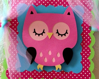 Owl Birthday Party Banner Girl Owl Banner pink green blue