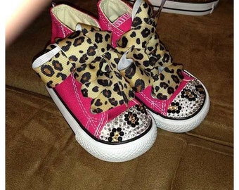 Infant / Toddler Swarovski Customized Leopard Converse