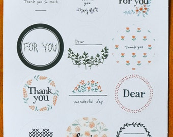 12 Circle Floral Thank You Stickers for Cards, Invitations, etc