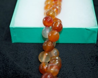 Faceted Round Carnelian Beads, available in two sizes