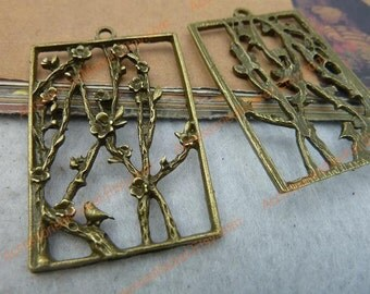 8 Tree of Plum Flower Charms, 47X31mm Brass Tone Oblong Tree Plate Shape Pendants T-C2545