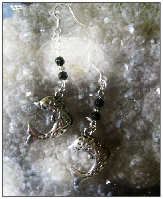 Handmade Silver Earrings with Dolphins & Facetted Black Onyx by IreneDesign2011