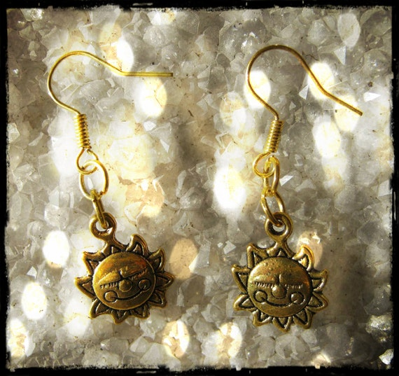 Handmade Gold Hook Earrings with Suns by IreneDesign2011