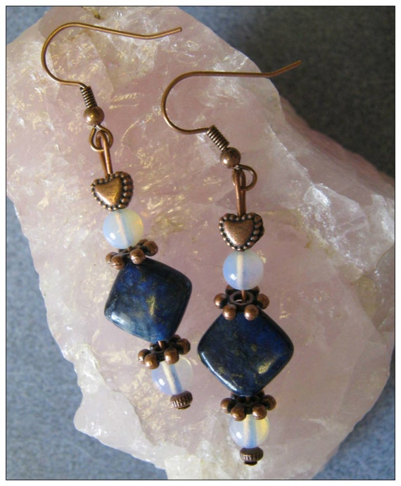 Handmade Copper Earrings with Lapis Lazuli, White Opal & Heart by IreneDesign2011