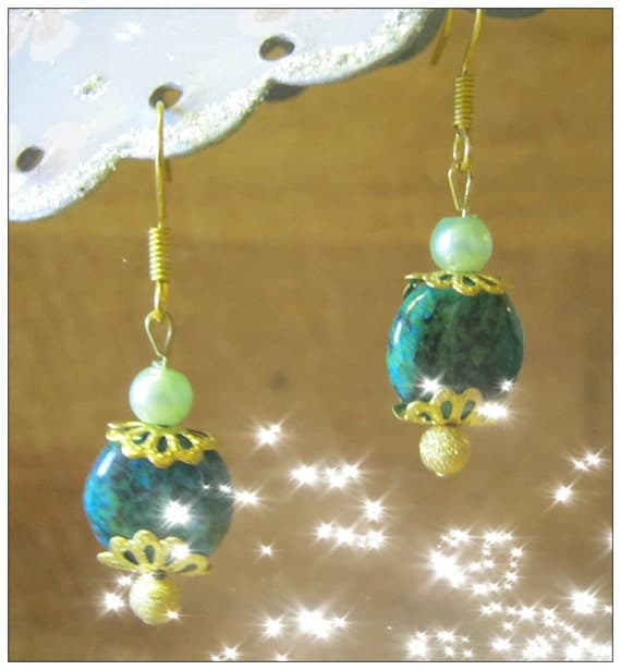 Handmade Gold Earrings with Moss Agate Coin & Green Pearl by IreneDesign2011