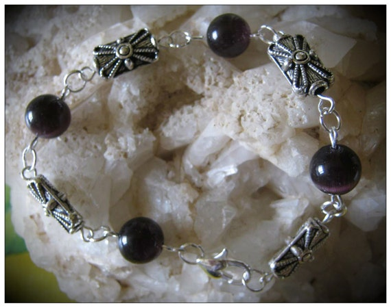 Beautiful Handmade Silver Bracelet with Dark Purple Cat Eye by IreneDesign2011