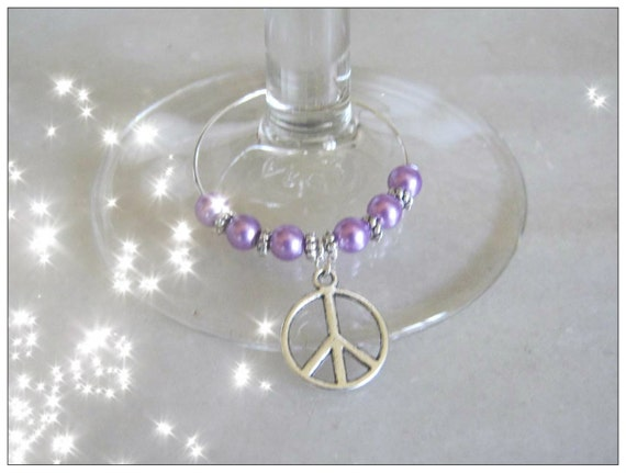 Handmade Silver Wine Glass Charms with Peace by IreneDesign2011