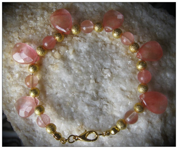 Handmade Gold Bracelet with Facetted Strawberry Quartz Drops by IreneDesign2011