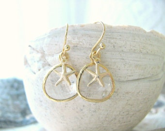 Crystal Earrings Crystal Jewelry 14k Gold Filled Starfish Earrings Beach Jewelry Starfish Earrings Beach Wedding April Birthstone Bridesmaid