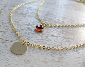 Layered Initial Necklace Birthstone monogram initial necklace custom hand stamped letter circle disc initial jewelry monogram jewelry gift