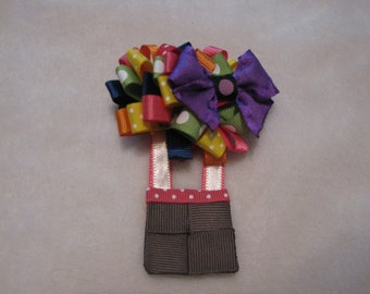 Hot Air Balloon hair bow, hot air balloon show, sculptured hair bow