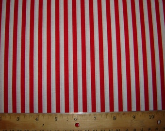 Per Yard, Red and White Stripe Fabric From Springs Creative
