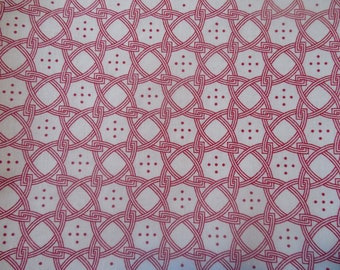 "SALE 1 Yard 20"" Red and White Five Dot Fabric by the Yard"