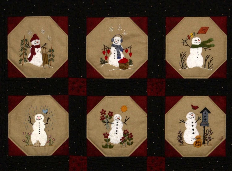 Warm Fuzzy Snowmen Quilt 12 Wool Applique Blocks Amp Quilt