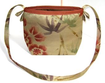 Gold, Orange, and Green Bamboo Silk and Satin Evening Bag