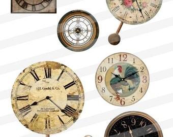 Vintage Clock Faces Timepieces Clip Art Digital Images Collage Sheet  jpg png INSTANT Download CA03