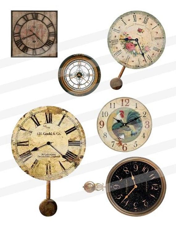 Vintage Clock Faces Timepieces Clip Art Digital Images Collage