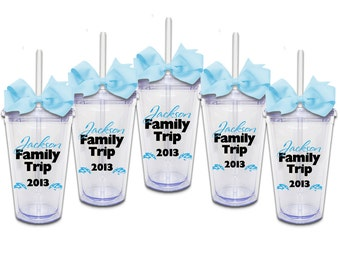 Set of 5 Family Vacation w/ Names - Acrylic Tumbler Personalized Cup