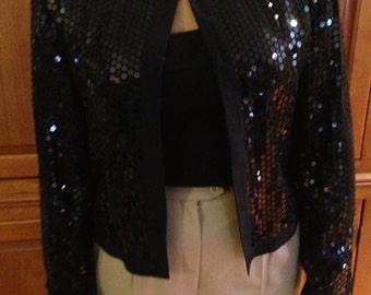 Silk Farm 100% silk crop sequin jacket