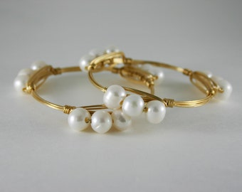 Natural Freshwater Pearl Wire Wrapped Gold Bangle Bracelet