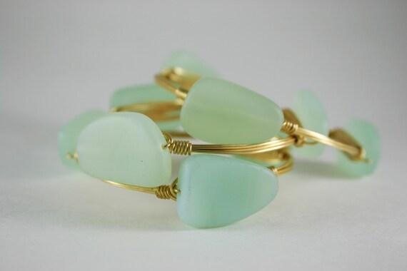 Sea Foam Green Sea Glass Wire Wrapped Gold Bangle