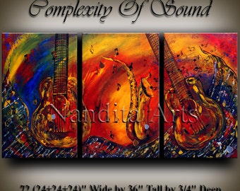 """Original MUSIC ART Abstract PAINTING """"Complexity Of Sound"""" Modern Art for sale Large modern art 72x36 abstract art for sale fine art Nandit"""
