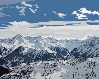 Mayrhofen, Austria snowy mountains art print