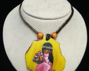 Vintage Hand-Painted DeGrazia Southwestern Necklace Item W-#385
