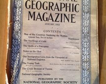 RARE ANTIQUE January 1912 National Geographic Magazine