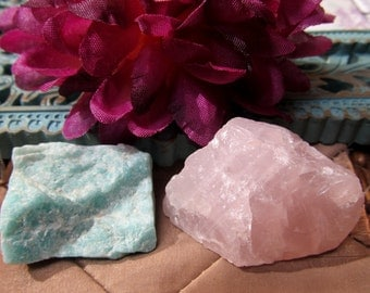 Rose Quartz, Amazonite Healing Stone, Natural Rough Stones, Unconditional Love Tranquility Set, Growth, Strength, Healing Crystal