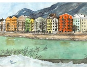 INNSBRUCK AUSTRIA Landscape Watercolor Village Water City Town Europe European Giclee Print Unframed