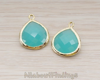 FST001-G-MT // Glossy Gold Plated Framed Mint Glass Stone Pendant, 2 Pc