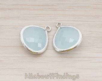 FST001-MR-AB // Matte Original Rhodium Plated Framed Alice Blue Glass Stone Pendant, 2 Pc
