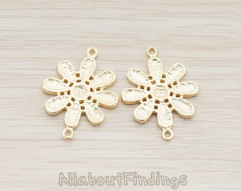CNT001-MG // Matte Gold Plated Lacy Flower Connector, 2 Pc