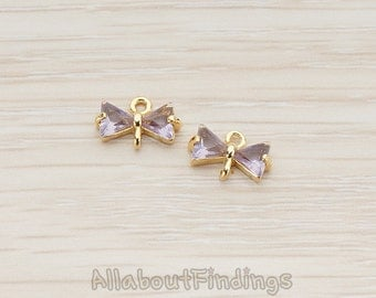 CNT036-G-PU // Glossy Gold Plated Purple Crystal Cubic Zirconia Setting Bow Ribbon Connector, 2 Pc