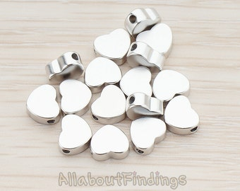 BDS926-MR // Matte Original Rhodium Plated Rounded Heart Metal Bead, 6 Pc