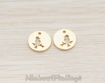 PDT774-MG // Matte Gold Plated Silhouette Bird on Branch Round Pendant, 2 Pc